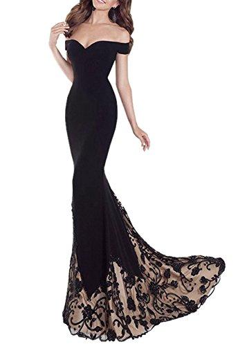 Queen Diana DamenAus der Schulter Maxi Lange Abend Abschlussball KleidGestickt Meerjungfrau Formale Feier Cocktail Kleider (Schwarz, S) - Kleider Abend-formale Damen