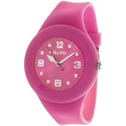 Nuvo - NU13H17 - Unisey Armbanduhr vom Armband abtrennbar - Pinkes Zifferblatt - Pinkes austauschbares Armband aus Silikon - Modisch - Elegant - Stylish