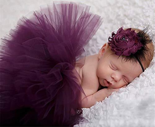 lität Neugeborenen Fotografie Requisiten Kostüm Infant Baby Mädchen Nette Prinzessin Rock und Stirnband Outfits Geschenk Set (Lila) ()