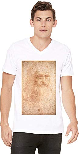 Top Paintings of All Time Leonardo da Vinci - Portrait of a Man in Red Chalk Painting Men V-Neck T-Shirt Stylish Fashion Fit Custom Apparel by XX-Large -