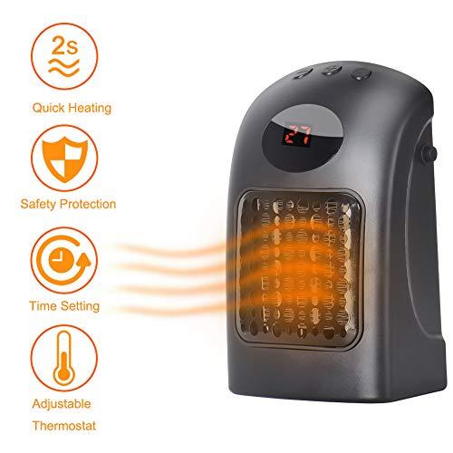 Outtybrave Mini Calefactor Eléctrico Portátil Calentador de Ventilador para Uso Personal,Pantalla LED,Protección contra Sobrecalentamiento,2 velocidades, silencioso y Seguro para el Hogar/Oficina 900W