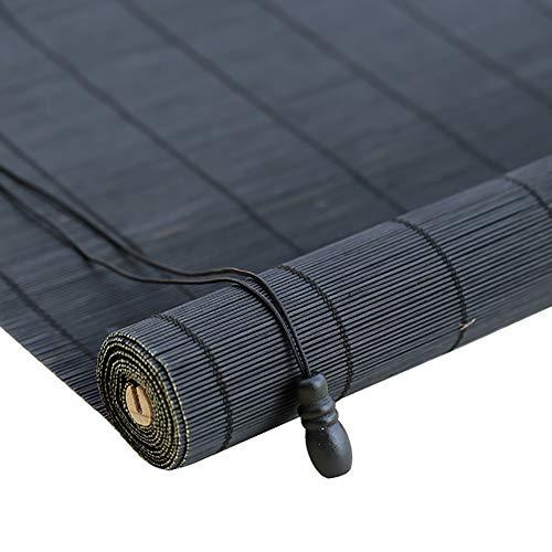 Bambusrollo- Rollos Bambusvorhang - Anhebende Rolle Rollen Oben Jalousien Wasserdicht Schwarz (Farbe : Hook up, größe : 70x150cm)