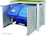 Edelstahl Mülltonnenbox für 2 Tonnen 240L mit Pflanzenwanne und Granit-Pfosten (NW22T), Mülltonnenhaus, Mülltonnenverkleidung