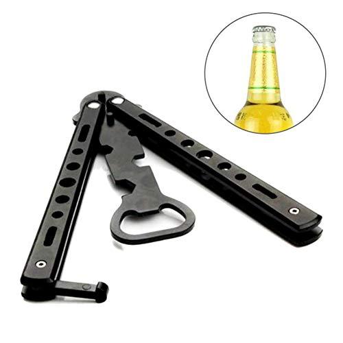 Flaschenöffner Butterfly-Messer Stil Trainer Werkzeug Camping Bar Zubehör Free Size Schwarz ()