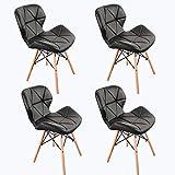 WV LeisureMaster 4er Set Cecilia Eiffel Millmead Inspiriert Stuhl PU Retro Schwarz Esszimmerstuhl Bürostuhl Lounge, Schmetterling Typ Rückenlehne Esszimmerstuhl (es ist Nicht große Größe)