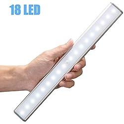 Moston Lampes 18 LED, Sans Fil, Rechargeable par USB, Aimanté, Détecteur de Mouvement, 2 Modes d'Éclairage, Portable. Lumière de Placard, Baladeuse de Secours, Veilleuse Enfant, Appoint,Argent ...