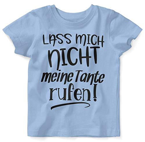 Mikalino Baby/Kinder T-Shirt mit Spruch für Jungen Mädchen Unisex Kurzarm Lass Mich Nicht Meine Tante handbedruckt in Deutschland | Handmade with Love, Farbe:Sky, Grösse:92/98