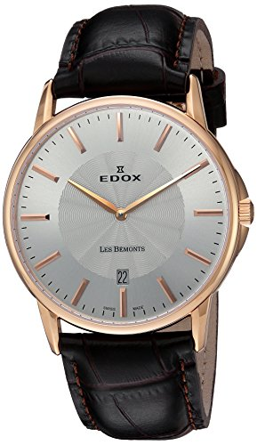 EDOX Unisex Analogue Quartz Watch with Leather Strap 56001 37R AIR