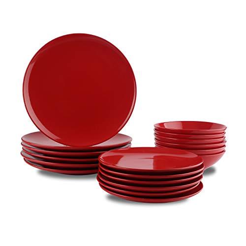 AmazonBasics, servizio di piatti, in grès, da 18 pezzi, Rosso puro, per 6 persone