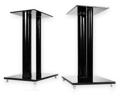 1 Paar Boxenständer V2 Black-Line aus Glas/Alu mit Spikes, 2 Säulen, Kabelkanal