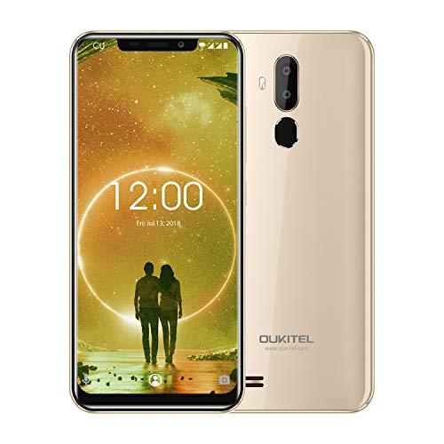OUKITEL C12 Smartphone, 6.18' 3G Telefono Cellulari Sbloccato, 19:9 Android 8.1 Quad Core 2GB+16GB, Fotocamera 8MP+2MP+5MP, Riconoscimento del Viso, Impronte Digitali, Oro