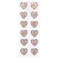 Baker Ross Rainbow Heart Crystal Gem Stickers (Pack of 12) Embellishments For Kids Mothers Day Arts and Crafts