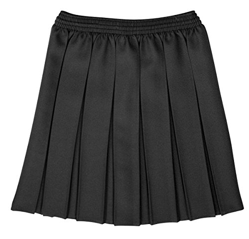 Girls School elastico da indossare tutto, Gonna con pieghe a cannoncino School Uniform gonne nero 8-9 Anni