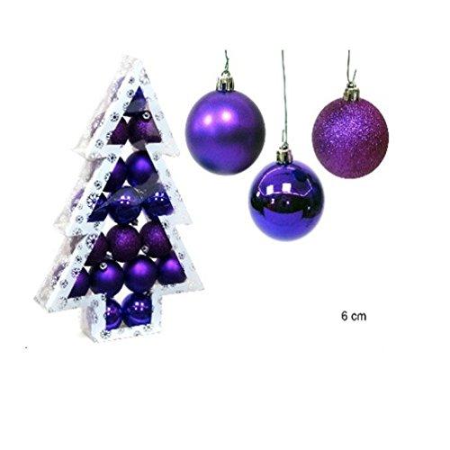Pack 17 boules de Noël Violet 6 cm
