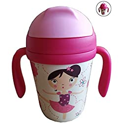 Gobelet en Bambou Enfants avec Paille Carafe avec Poignées, Couverture et Buse en Fibre de Bambou 300 ML - Idéal Bébé (Material Sûr) - Bouteille Reutilisable, Eco,Bio,sans BPA - Va au Lave-Vaisselle