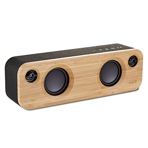 House of Marley Get Together Mini Cassa Altoparlante Portatile Bluetooth Wireless, Porta USB per Caricare Altri Dispositivi, Ingresso Aux, Nero/Legno