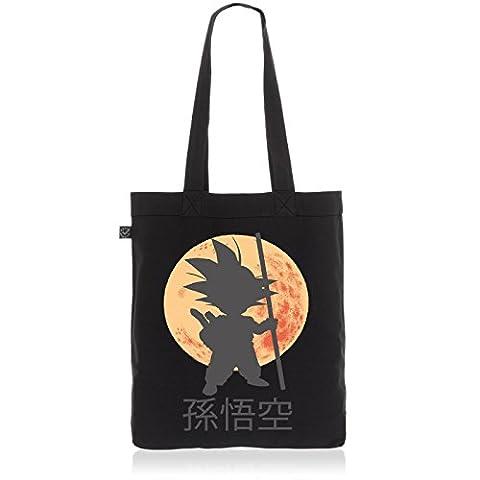 style3 Goku Moonlight Biobaumwolle Beutel Jutebeutel Tasche Tote Bag Son Dragon, Farbe:Schwarz