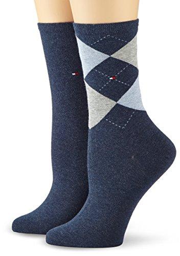 Tommy Hilfiger - Th Women Check Sock 2P, Calze da donna, blu(blau (jeans 356)), taglia produttore: 35-38