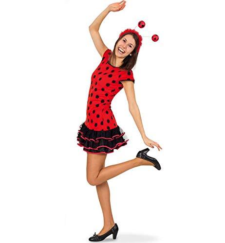 KarnevalsTeufel Kinder-Kostüm Lady Bug, Teenager-Kostüm, Teenie-Kostüm, Marienkäfer, schwarz-rot, Party-Kleid (164)