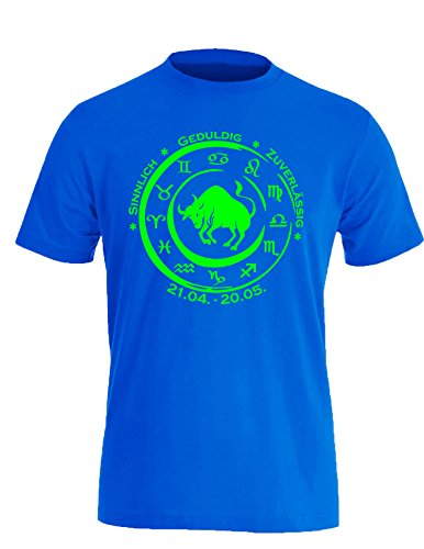 Sternzeichen Stier - Astrologie - Herren Rundhals T-Shirt Royal/Neongruen