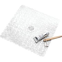 mDesign Alfombrilla de baño blanda con ventosas – Alfombra antideslizante para bañera de PVC robusto y resistente – Alfombra de ducha transparente con diseño de guijarros – Para baño, bañera o ducha