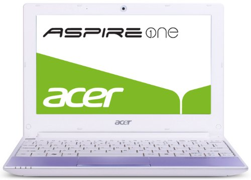Acer Aspire One Happy Series 25,6 cm (10,1 Zoll) Netbook (Intel Atom Dual Core N550, 1,5GHz, 1GB RAM, 250GB HDD, Intel GMA3150, Bluetooth, Win 7 Starter / Android) lila -