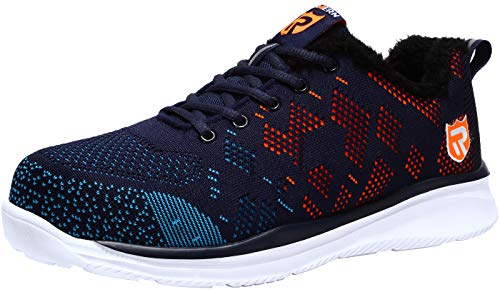 LARNMERN Mens Steel Toe Safety Trainers, LM-30 Knit Breathable Lightweight Reflective Work Shoes
