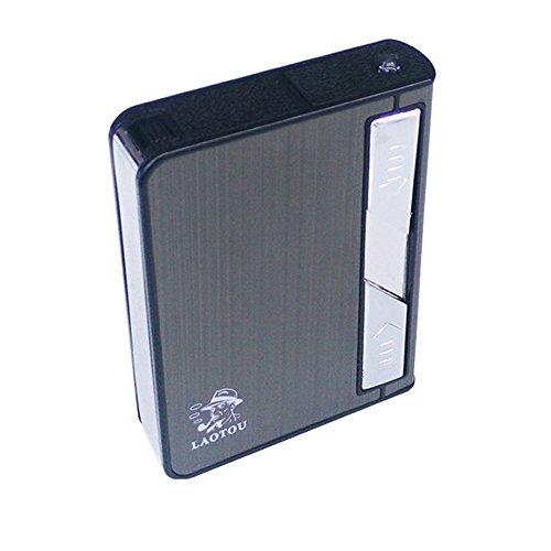 Sun_lighter® 2018 Multifunktions-Zigarettenbox, USB, elektrisch, wiederaufladbar, Zigarettenanzünder, ausziehbarer Zigarettenhalter mit elektrischer Taschenlampe, Winddicht, flammenlos Schwarz