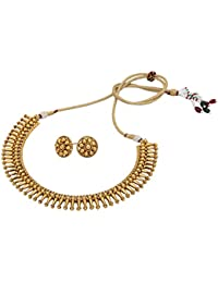 Aarvi Collections 24k Gold Plated Temple Designed Pure Antique Traditional Necklace Set For Women/Girls.