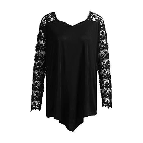 VEMOW Plus Size Fashion Sommer Herbst Lady Lace Damen Langarm T-Shirt Casual Top Bluse(X1-a-Schwarz, 48 DE / 3XL CN)