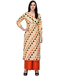 Inaayo Women's Cotton 3/4 Sleeve Geometric Print Straight Kurti