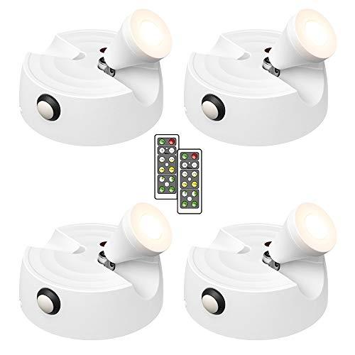 Olafus 4er LED Deckenstrahler mit Fernbedienung, 200LM Batteriebetrieben Spot Licht, Dimmbare Bilderleuchte mit Timer, 2700K warmweiß Drehbare Schrankleuchte für Gemälde, Bilder, Kunstwerke Schrank