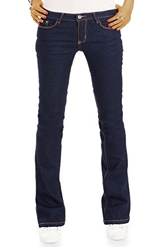 bestyledberlin Damen Basic Jeans Boot-Cut, Super Denim Schlagjeans, Ausgestellte Hüftjeans j84f 36/S -