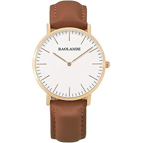 Alienwork Classic St.Mawes Reloj cuarzo elegante cuarzo moda diseño atemporal clásico Piel de vaca oro rosa marrón