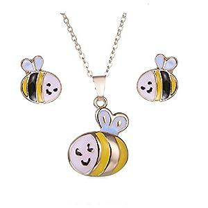 MJARTORIA Damen Einhorn Kette Mädchen Einhorn Biene Hunde Katze Geist Motiv Schmuckset Halskette Ohrringe Gold Farbe 2 Stück