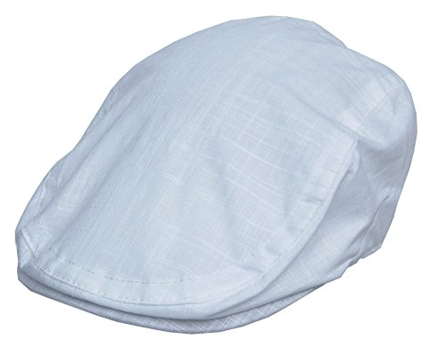 Cool4 Leinen Flatcap Schiebermütze Vintage Gatsby Kappe Retro Mütze Cap A03 (60, weiß)