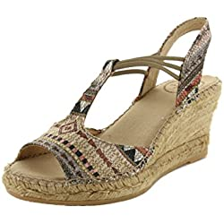 Damen Espadrilles Sandale Keilabsatz TONI PONS Canvas mehrfarbig EU 37