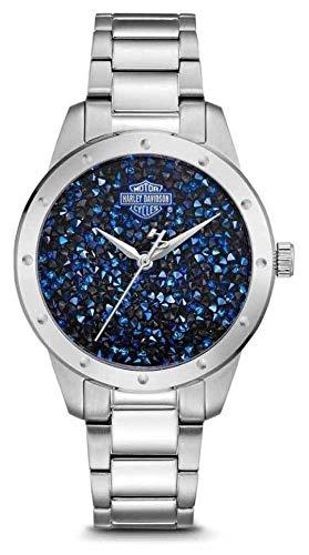 Harley Davidson Ensemble de cristaux pour femmes avec cadran bleu | bracelet en acier inoxydable 76L188