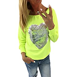 Camisetas Mujer Camisetas Manga Larga Cuello Redondo Suelto Elegantes Con Corazón Lentejuelas Básicas Vintage Fashion Camiseta Camisa T Shirt Blouse Blusa De Mujeres