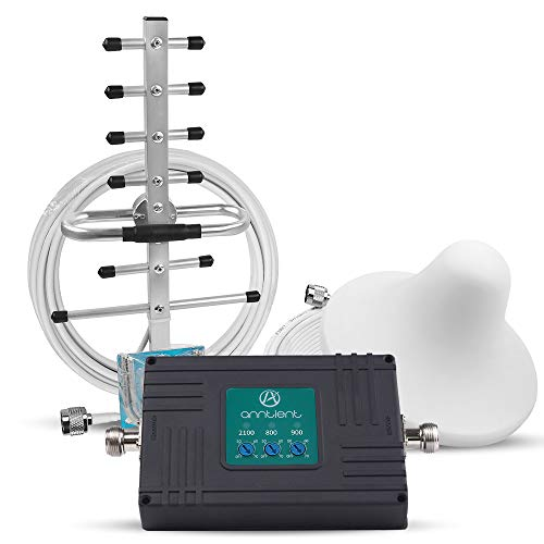 ANNTLENT Tri-Band Signalverstärker, 800MHz (Band 20) 900MHz (Band 8) 2100MHz (Band 1) LTE Verstärker Signal Booster, Stabiles Signa für Hause, Büro, Keller