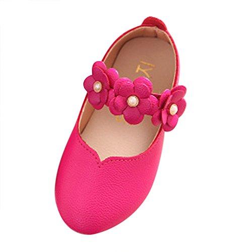 Dorical Baby Mädchen Prinzessin Modisch Kinderschuhe mit Klettverschluss/Kind Elegant Blumen Weich Einfarbig Freizeit Tanzschuhe Kunstlederschuhe Kleinkind Bequem Süß Schuhe(Pink,30 EU)