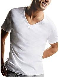 Hanes Men's TAGLESS V-Neck Undershirt 7-Pack (Includes 1 Free Bonus V-Neck)_White_S
