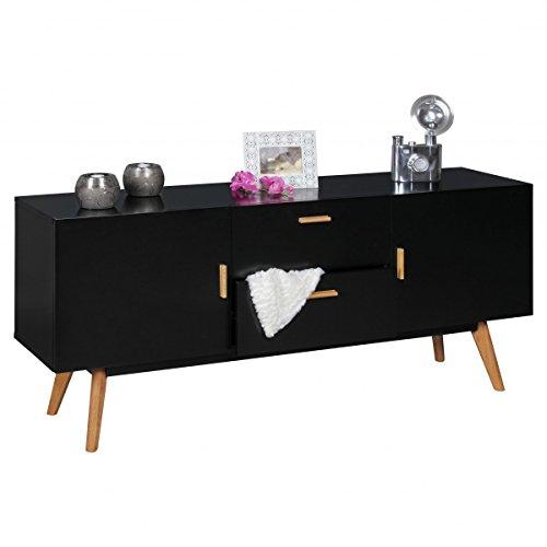 Sideboard in Schwarz mit 2 Schcublden & Türen ideal als TV-Board; Maße (B/T/H) in cm: 160 x 42 x 70