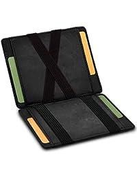 GenTo® Vegas Magic Wallet - Protección certificada de RFID y NFC - Billetera Inteligente, Delgada y sin Compartimento para Monedas - Regalo para Hombres con Caja de Regalo