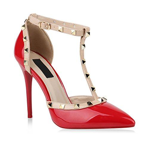 Damen Spitze Pumps Stiletto High Heels Hochzeit Braut Abiball Abend Nieten Slingpumps Damen Schuhe 144588 Rot Nieten 39 Flandell