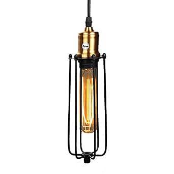 Fuloon Retro Industriel Edison Simplicité Gladiateur Lustre Vintage Plafonnier Suspension avec Abat-jour Antique en Métal - Noir