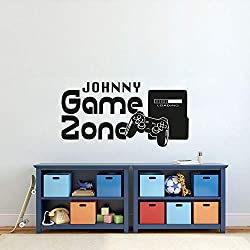 jiuyaomai Gamer Sticker Mural Personnalisé Nom Zone De Jeu Sticker Mural Contrôleur de Jeu Vidéo Fond D'écran Enfants Chambre Vinyle Wall Art Decal Brun 83x42cm