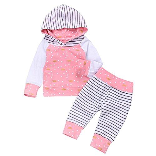 Neugeborene Kleidung Kinder Strampler Hirolan 2Stk Kleinkind Strickjacke Mädchen Rosa Mit Kapuze Tops Punkte Drucken Hose Outfit Set Kleider (80cm, Rosa) (Kurzarm-wrap)