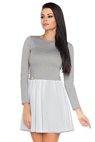 Futuro Fashion Damen Langärmlig Vernickelt Skater Kleid Tüll Netz Mini Eleganter Look Schmeichelnd Form Polyester Größe 8-12 UK FA431 Aschgrau