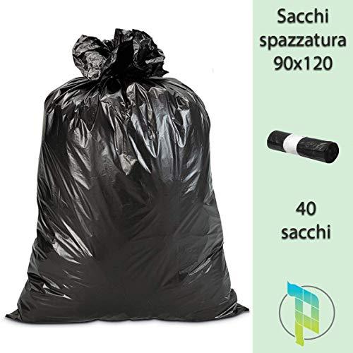 Palucart® Sacchi Neri Grandi Resistenti Sacchi Spazzatura condominiali cm 90x120 120 Litri 40 Pezzi